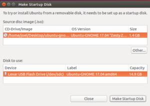 Ubuntu Gnome Install USB